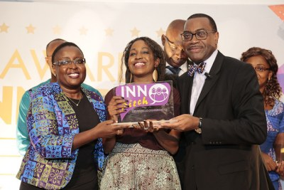 "African Development Bank (AfDB) president Akinwumi Adesina presenting INNOPitch awards to Bank staff who submitted innovative ideas on how to improve the Bank's business operations. ""Today we are writing a new page in the history of the African Development Bank, and we are doing it together. We want a Bank with a fresh organisational culture..."