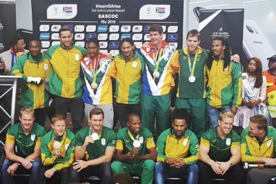 Team South Africa at OR Tambo Airport after returning from the Olympic Games in Rio de Janeiro.