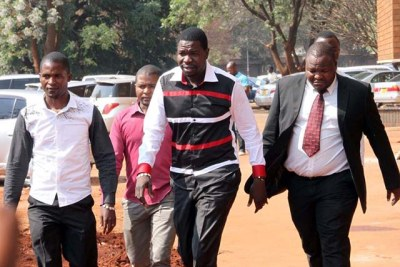 Prophet Walter Magaya, centre, arriving at the court with his crew (file photo).