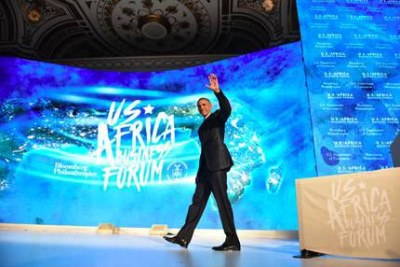 U.S. President Barack Obama take the stage to deliver an address during the U.S.-Africa Business Forum held in New York, 21st September 2016.
