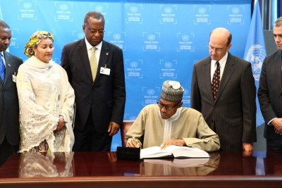 President Muhammadu Buhari signed the Paris Agreement on Climate Change, on the sidelines of the UN General Assembly in New York.
