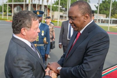 President Uhuru Kenyatta seeing off His Majesty King Abdullah II of Jordan.