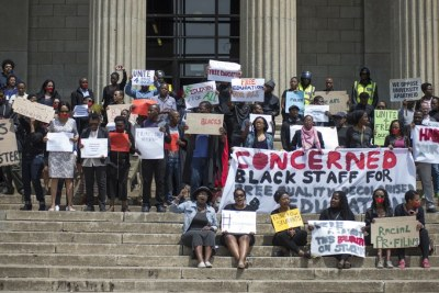 Wits academic and administrative staff protest outside the Great Hall.
