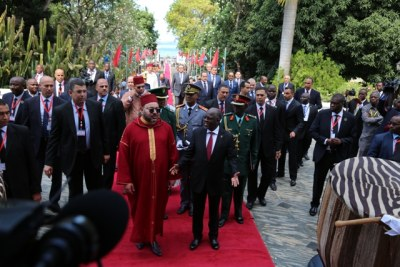 Moroccan King Mohamed and Tanzanian President John Magufuli.