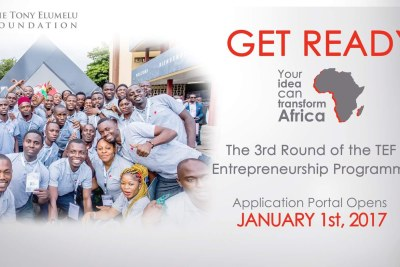 On January 1, 2017, The Tony Elumelu Foundation (TEF) will begin accepting applications for the third round of the TEF Entrepreneurship Programme.