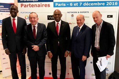 Makhtar Diop, World Bank Vice President, Pierre Gattaz, MEDEF President,  Tony O. Elumelu, C.O.N, Chairman, Heirs Holdings and Issad Rebrab, CEO, Cevital after their high level panel at the Africa-France Active Growth & Youth Programs (AGYP) organised by Le Mouvement des entreprises de France (MEDEF)