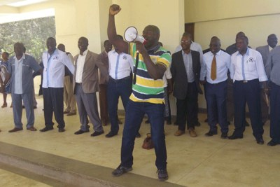 Union members sing the solidarity song at the University of Nairobi ahead of their strike.