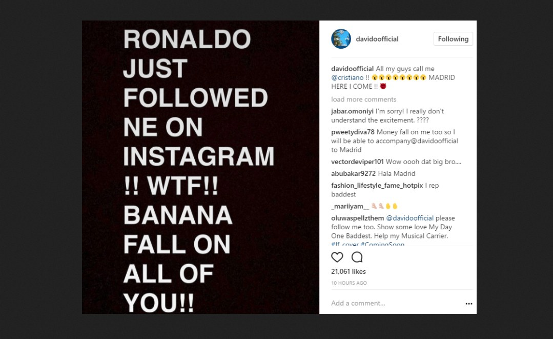 Nigeria: Cristiano Ronaldo Follows Davido On Instagram
