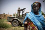 A UN peacekeeper in the village of Diallo in the Bandiagara area in Mopti in Mali (file photo).